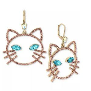 Betsey Johnson Pink Open Cat Face Drop Earrings